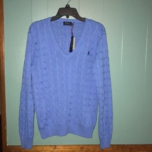 NWT Ralph Lauren Polo cable v-neck sweater